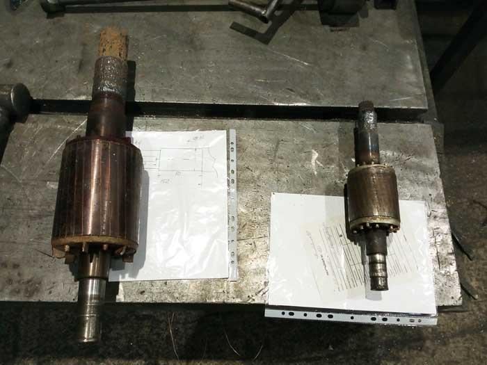 ремонт шеек вала ротора электродвигателя